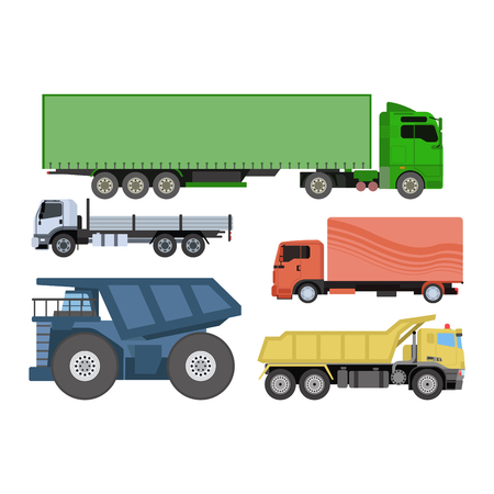 Trucks icons vector shipping cars vehicles cargo transportation by road. Delivery vehicle car shipping trucks and rail car with forklifts. Flat style icons trailer lorry traffic illustration. Illustration