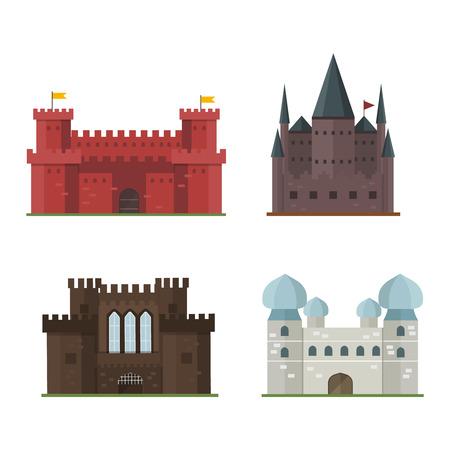 stronghold: Cartoon fairy tale castle tower icon. Cute cartoon castle architecture. Vector illustration fantasy house fairytale medieval castle. Kingstone cartoon castle cartoon stronghold design fable isolated.