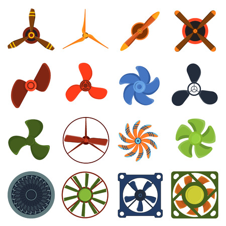 ventilator: Set of fans and propellers icons isolated vector object. Propeller fan icons cool ventilation ship symbol retro cooler boat equipment. Ventilator symbol wind equipment propeller fan icons.