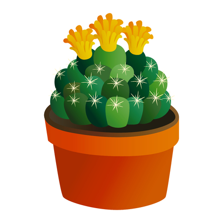 spiked: Green desert plant nature cartoon cactus and mexican summer cute cartoon cactus home plant. Cartoon cactus tropical plant traditional west flower. Cute cartoon cactus flat nature vector illustration.