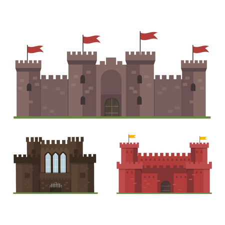 fable: Cartoon fairy tale castle tower icon. Cute cartoon castle architecture. Vector illustration fantasy house fairytale medieval castle. Kingstone cartoon castle cartoon stronghold design fable isolated.