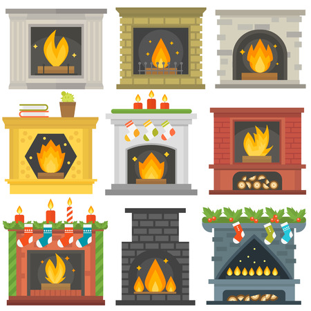 gas fireplace: Set of vector fireplace icons and fireplace design. Fireplace house room warm christmas silhouette. Fireplace flame bright decoration coal furnace. Comfortable warmth fireplace collection.