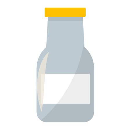 isolated ingredient: Traditional old fashioned glass milk bottle isolated on white. Healthy beverage milk bottle dairy drink glass. Food container health natural breakfast milk bottle nutritious ingredient vector.