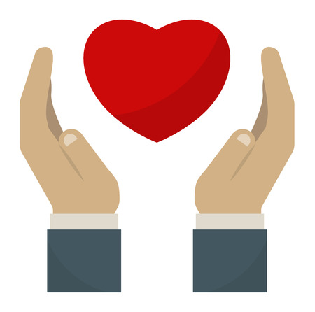 life support: Hands holding heart people, relationship and love concept. Womans cupped hands showing red heart. Human gift peace symbol hands holding heart life family support. Romantic happiness lifestyle vector. Illustration