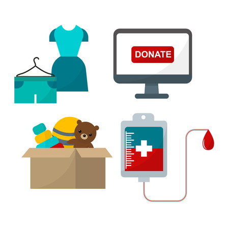 humanitarian: Donate help symbols charity organization heart flat icons set of food and clothes donation abstract isolated vector illustration. Humanitarian holding money donate help symbols. Donate symbols.