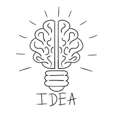idea lamp: Drawing idea light bulb concept creative design. Vector Idea lamp innovation electric creativity inspiration concept. Bright idea lamp icon symbol solution lightbulb. Creative idea concept Illustration