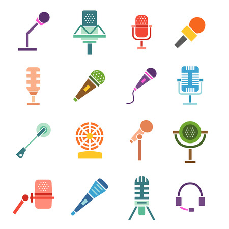 vocal: Different microphones types icons. Journalist vector microphone, interview , music studio. Web broadcasting microphone, vocal tool, tv show microphone.