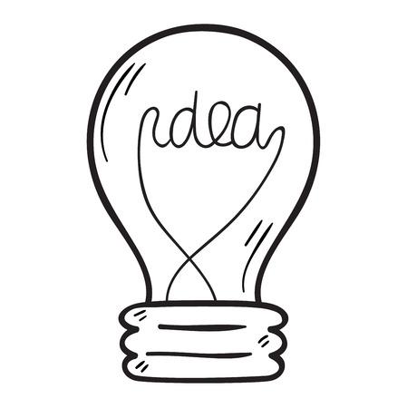 #61469141   Zeichnung Idee Glühbirne Konzept Kreative Gestaltung. Vector  Idea Lampe Innovation Elektrische Kreativität Inspiration Konzept. Helle  Idee Lampe ...