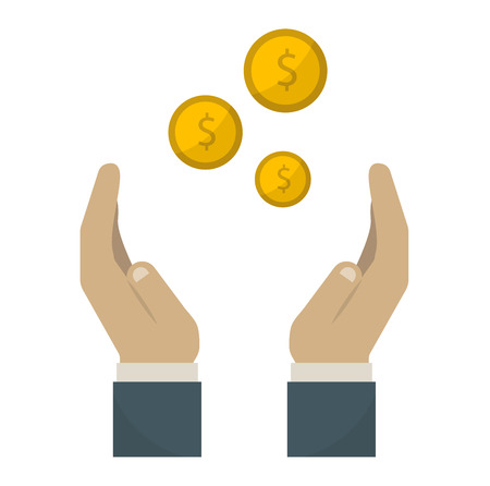 paying: Human hand with money business currency finance investment vector icon. Business money in hand and payment bill money in hand. Paying concept money in hand. Rich concept paying financial give.