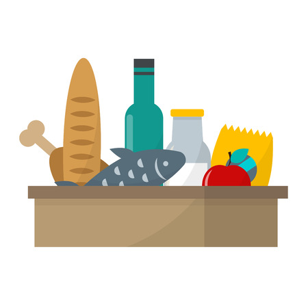 basket icon: Daily product vector illustration of healthy organic fresh and natural food. Flat vector daily product icons. Shop product retail store daily product food isolated