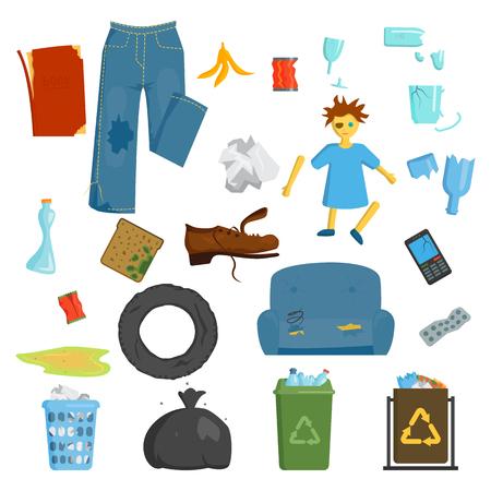 Recycling und Müll Elemente Müllsäcke. Vector Reifen-Management Ökologie Industrie Müll nutzen Konzept. Müll Abfall Müll Ökologie Papier Recycling Entsorgungsbox Flasche. Standard-Bild - 61661008