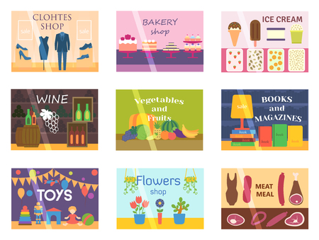 jewelry store: Set of vector flat design restaurants and shops facade icons. Includes bakery, pharmacy, electronics store, ice cream shop, book shop facade, butcher shop, trendy clothing store, jewelry store facade. Illustration