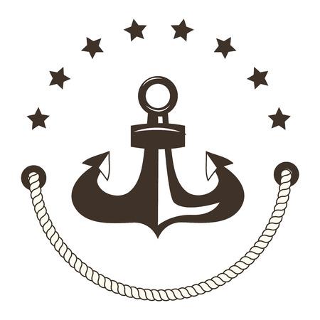 ship steering wheel: Vintage retro anchor badge and label. Vector sign anchor sea ocean ship, graphic element nautical symbol. Vintage retro marine emblem, label nautical anchor symbol and marine design emblem. Illustration