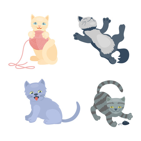 kitten small white: Cats collection vector silhouette. Cute domestic cats different animals. Different cats young adorable tail symbol playful paw. Cartoon funny standing drawing domestic pussy characters set.