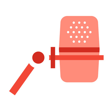 tv show: Microphone vector icon isolated on white. Journalist vector microphone, interview, music studio. Web broadcasting microphone, vocal mike tool, tv show microphone.. Mike isolated on white Illustration