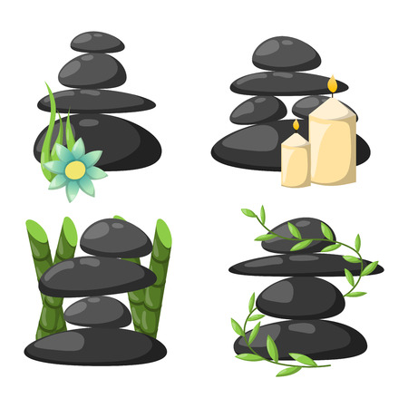 spa stones: Growing piled up pebbles on white background. Spa stones isolated vector and relaxation spa stones isolated. Spa stones isolated pebble concept therapy, heap spa stones isolated beauty tranquil relax.