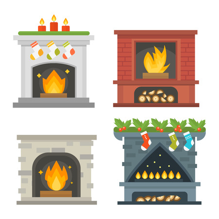 warmth: Set of vector fireplace icons and fireplace design. Fireplace house room warm christmas silhouette. Fireplace flame bright decoration coal furnace. Comfortable warmth fireplace collection.