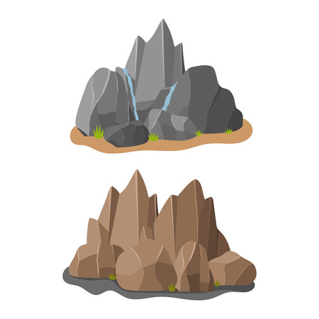 cobble: Stones rocks in cartoon style big building mineral pile. Boulder natural rocks and stones granite rough. Vector illustration rocks and stones nature boulder geology gray cartoon material.