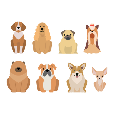 breed: Vector illustration of different dogs breed isolated on white background. Flat dogs breed vector icon illustration, flat dogs breed isolated vector. Dog breed flat silhouette