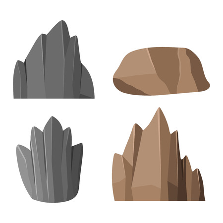 geology: Stones rocks in cartoon style big building mineral pile. Boulder natural rocks and stones granite rough. Vector illustration rocks and stones nature boulder geology gray cartoon material.