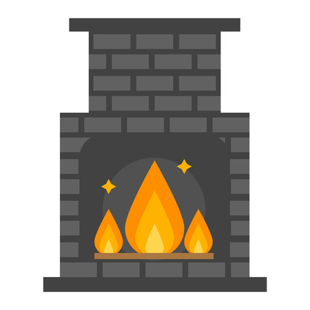 gas fireplace: Vector fireplace icon and fireplace design. Fireplace house room warm silhouette. Fireplace flame bright decoration coal furnace. Comfortable warmth fireplace isolated