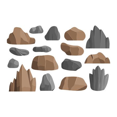 Stenen rotsen in cartoon-stijl groot gebouw minerale stapel. Boulder natuurlijke rotsen en stenen graniet ruw. Vector illustratie rotsen en stenen natuur kei geologie grijze cartoon materiaal. Stock Illustratie