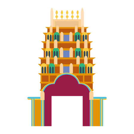 chinese temple: Chinese temple asia culture architecture and travel ancient building chinese temple. Chinese famous old structure temple, chinese religion. Beautiful china asia travel landmarks chinese temple vector.