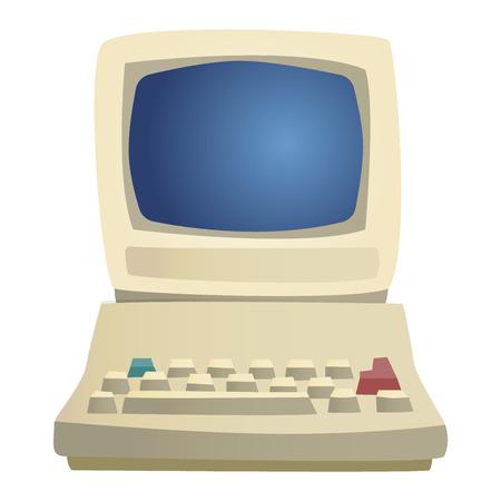 Old omputer Technologie Vektor isoliert. Die Telekommunikationsausrüstung alten Vintage-PC-Monitorrahmen Computer modernen Büro-Netzwerk. Alte Computer-Gerät elektronische Geräte Raum. Standard-Bild - 61891228