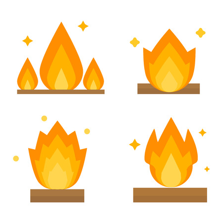 orange inferno: Fire flame hot burn and fire flame vector icon. Warm inferno danger fire flame and cooking yellow fire flame. Orange light blazing campfire ignite fire flame design and detail fireplace passion sign. Illustration