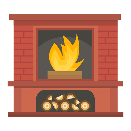 furnace: Vector fireplace icon and fireplace design. Fireplace house room warm silhouette. Fireplace flame bright decoration coal furnace. Comfortable warmth fireplace isolated