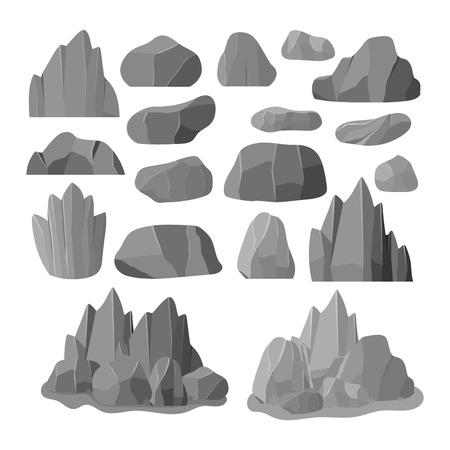 돌 만화 스타일의 큰 건물 미네랄 더미에서 바위. 볼더 자연 바위와 돌 거친 화강암. 벡터 일러스트 레이 션 바위와 돌 자연 볼더 지질 회색 만화 소재