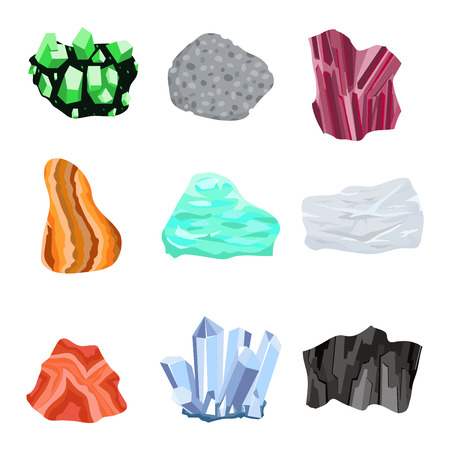 Collection set of semi precious gemstones stones and mineral stone isolated on white background. Colorful shiny gemstone. Mineral stone jewelry material agate mineral stone geology nature crystal.