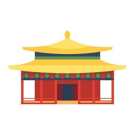 Templo chino asia configuración cultura y viajar edificio antiguo templo chino. China famoso templo antigua estructura, chino religión. Hermosa viajes asia china chino vector de señales templo. Foto de archivo - 61891264