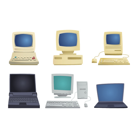 old pc: Computer technology vector set isolated display. Telecommunication equipment metal pc monitor frame computer modern office network. Old computer device electronic black equipment space.