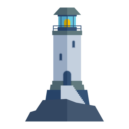 Vector cartoon flat lighthouse. Searchlight tower for maritime navigation guidance. Ocean beacon light vector tower lighthouse. Travel lighthouse water sailing signal navigation symbol.