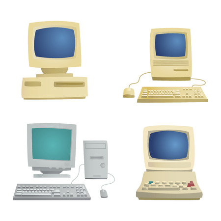 old office: Computer technology vector set isolated display. Telecommunication equipment metal pc monitor frame computer modern office network. Old computer device electronic black equipment space.