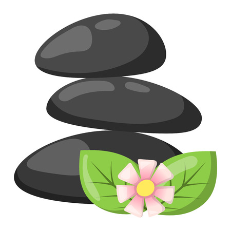 pebble: Growing piled up pebbles on white background. Spa stones isolated vector and relaxation spa stones isolated. Spa stones isolated pebble concept therapy, heap spa stones isolated beauty tranquil relax.