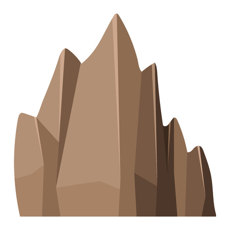 boulder: Stone rock in cartoon style big mineral pile. Boulder natural rock and stone granite rough. Vector illustration rock and stone nature boulder geology gray cartoon material.