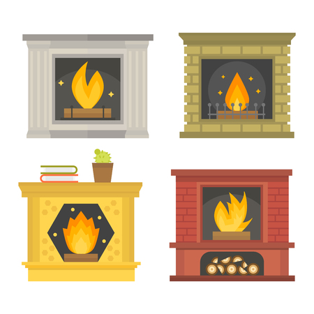 warmth: Vector fireplace icon and fireplace design. Fireplace house room warm silhouette. Fireplace flame bright decoration coal furnace. Comfortable warmth fireplace isolated
