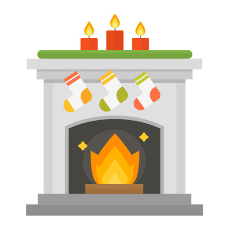gas fireplace: Vector christmas fireplace icon and fireplace design. Fireplace house room warm silhouette. Fireplace flame bright decoration coal furnace. Comfortable warmth christmas fireplace isolated