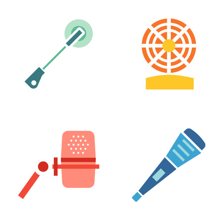 tv show: Different microphones types icons. Journalist vector microphone, interview , music studio. Web broadcasting microphone, vocal tool, tv show microphone.