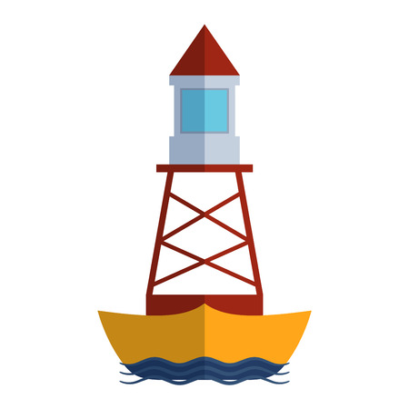 searchlight: Vector cartoon flat lighthouse. Searchlight tower for maritime navigation guidance. Ocean beacon light vector tower lighthouse. Travel lighthouse water sailing signal navigation symbol.