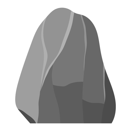 Stone rock in cartoon style big mineral pile. Boulder natural rock and stone granite rough. Vector illustration rock and stone nature boulder geology gray cartoon material.