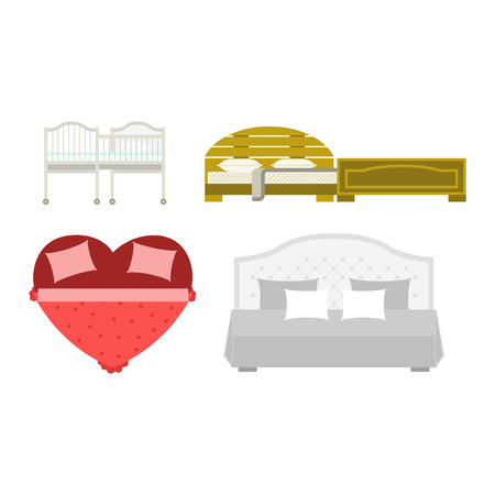 bunk bed: Vector bed icon interior home rest. Bed vector sleep furniture icon. Bed vector house information bedtime modern service sleep furniture.