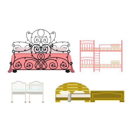 literas: Vector icono de la cama interior de una casa de reposo. Cama de los muebles del vector del sueño icono. información de cama de la casa vector de la hora de dormir el sueño de muebles moderno servicio. Vectores