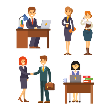 happy office: Set of business people isolated on white. Corporate teamwork happy office success business people. Professional work person business people successful meeting businessman vector character. Illustration
