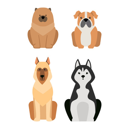 beagle terrier: Vector illustration of different dogs breed isolated on white background. Flat dogs breed vector icon illustration, flat dogs breed isolated vector. Dog breed flat silhouette