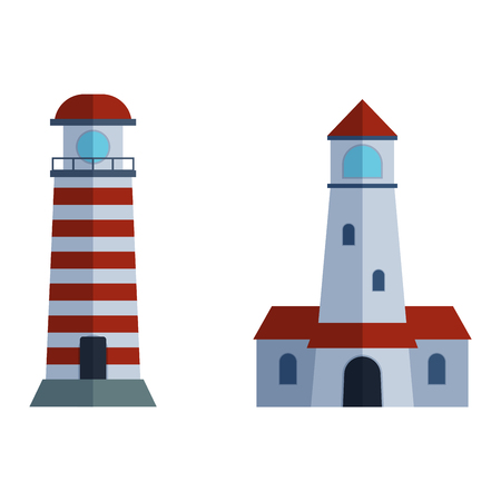beacon: Vector set of cartoon flat lighthouses. Searchlight towers for maritime navigation guidance. Ocean beacon light vector tower lighthouse. Travel lighthouse water sailing signal navigation symbol.