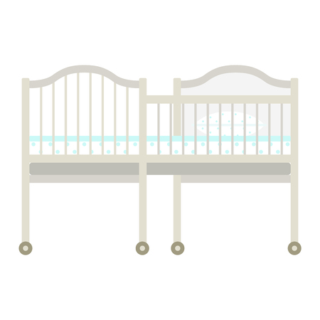 bedtime: Vector kids bed icon interior home rest. Bed vector sleep furniture icon. Bed children vector house information bedtime modern service sleep furniture.