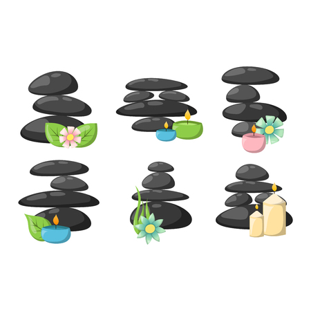 bodycare: Growing piled up pebbles on white background. Spa stones isolated vector and relaxation spa stones isolated. Spa stones isolated pebble concept therapy, heap spa stones isolated beauty tranquil relax.